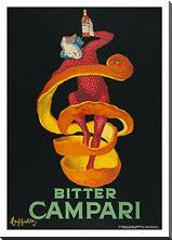 Bitter Campari art print poster with block mounting