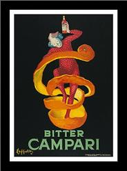 Bitter Campari art print poster with simple frame