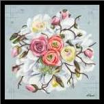Bouquet II art print poster with simple frame
