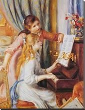 Girls At the Piano art print poster with block mounting
