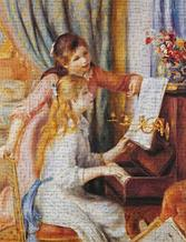 Girls At the Piano art print poster transferred to canvas