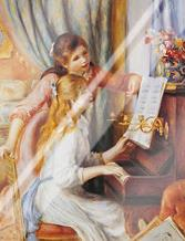 Girls At the Piano art print poster with laminate