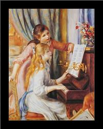 Girls At the Piano art print poster with simple frame