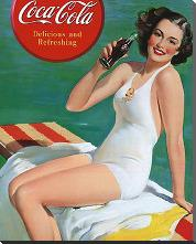 Coca-Cola Girl in Bathing Suit art print poster with block mounting