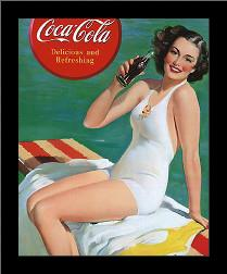Coca-Cola Girl in Bathing Suit art print poster with simple frame
