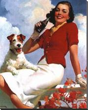 Coca-Cola Lady with Dog art print poster with block mounting