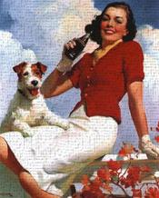 Coca-Cola Lady with Dog art print poster transferred to canvas