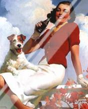 Coca-Cola Lady with Dog art print poster with laminate