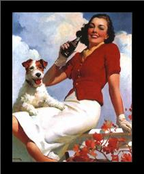 Coca-Cola Lady with Dog art print poster with simple frame
