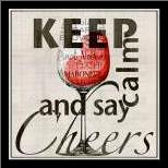 Keep Calm and Say Cheers art print poster with simple frame