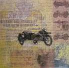 WWII Motorcycle art print poster transferred to canvas