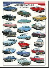 American Cars of the Fifties art print poster with block mounting