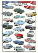 American Cars of the Fifties art print poster with laminate