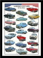 American Cars of the Fifties art print poster with simple frame
