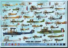 World War I Aircraft art print poster with block mounting