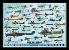 World War I Aircraft art print poster with simple frame