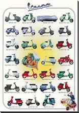 Vespa art print poster with block mounting