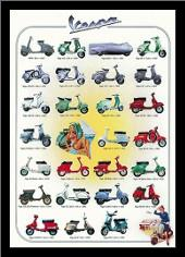 Vespa art print poster with simple frame