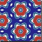 Red White and Blue Flowers II art print poster with block mounting