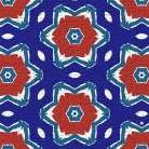 Red White and Blue Flowers II art print poster transferred to canvas