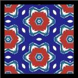 Red White and Blue Flowers II art print poster with simple frame