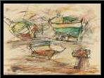 Boats at the pier I sea port art print poster with simple frame