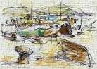 Boats at the pier II sea port art print poster transferred to canvas