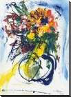 Blue and Yellow Still Life blu art print poster with block mounting