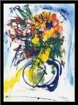 Blue and Yellow Still Life blu art print poster with simple frame