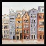 Amsterdam Houses Hotel  art print poster with simple frame