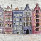 Old Historic Houses Amsterdam art print poster transferred to canvas