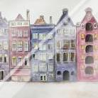 Old Historic Houses Amsterdam art print poster with laminate