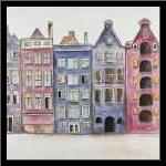 Old Historic Houses Amsterdam art print poster with simple frame