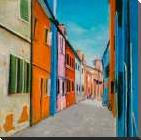 Colorful Houses in Italy art print poster with block mounting