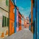 Colorful Houses in Italy art print poster transferred to canvas