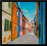 Colorful Houses in Italy art print poster with simple frame