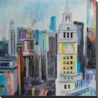Colorful Cityscape of Manhattan art print poster with block mounting