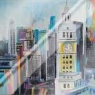 Colorful Cityscape of Manhattan art print poster with laminate