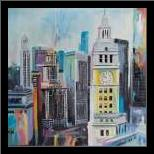 Colorful Cityscape of Manhattan art print poster with simple frame