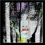 Abstract Colorful Woman Face art print poster with simple frame