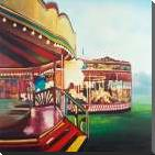 Carousel in a Carnaval art print poster with block mounting