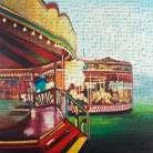 Carousel in a Carnaval art print poster transferred to canvas