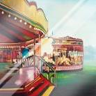 Carousel in a Carnaval art print poster with laminate
