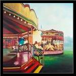 Carousel in a Carnaval art print poster with simple frame