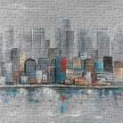Abstract City Skyline art print poster transferred to canvas