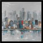 Abstract City Skyline art print poster with simple frame