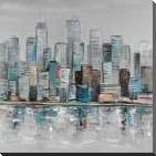 Abstract Urban Skyline art print poster with block mounting