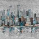 Abstract Urban Skyline art print poster transferred to canvas