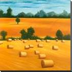 Hay Bale Fields art print poster with block mounting