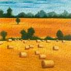 Hay Bale Fields art print poster transferred to canvas
